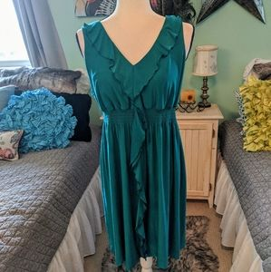 Teal dress with ruffle
